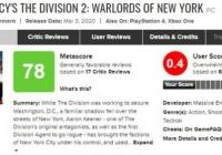 《全境封锁2》dlc超过《魔兽3重制版》成为用户评分最低的游戏