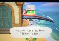 游戏玩家在《动森》钓皇带鱼穿模了 脑洞大开一开岛民吓坏
